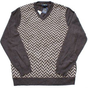 Club Room Sweaters - Chevron 100% 2-Ply Cashmere V-Neck Sweater XL
